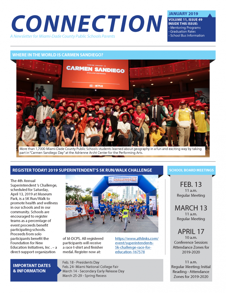 January 2019 Connection Parent Newsletter - English Page 1